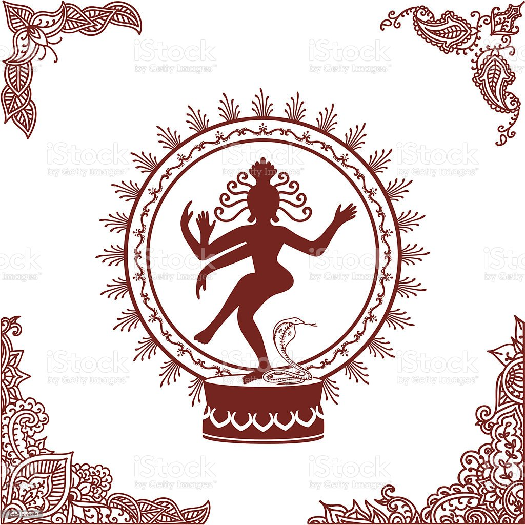 Mehndi Nataraj vector art illustration