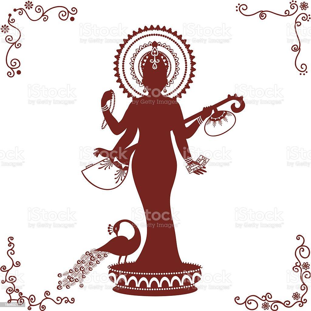 Mehndi Standing Sarasvati royalty-free stock vector art