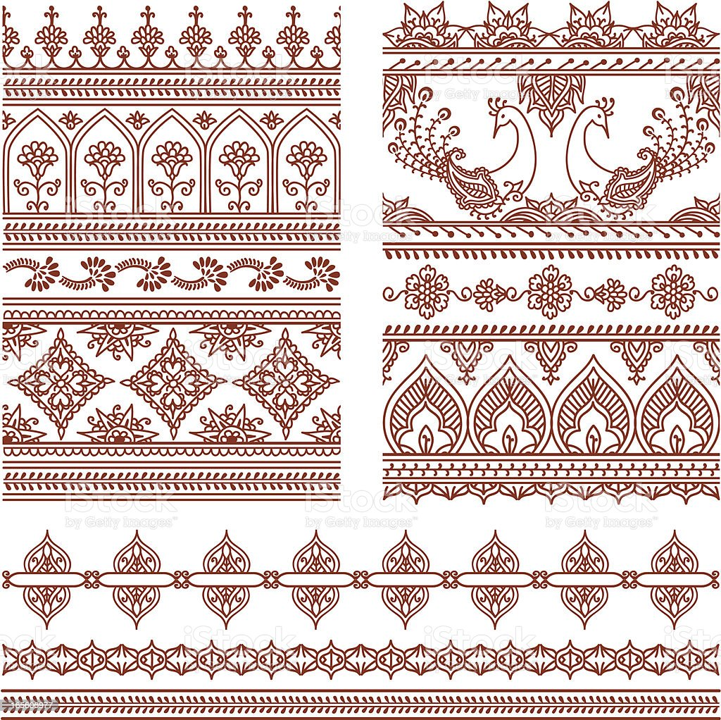 Mehndi Tall Borders (Vector) vector art illustration