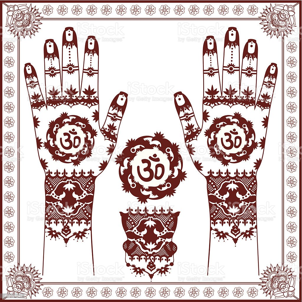 Mehndi with Om (Aum) symbol in the middle vector art illustration