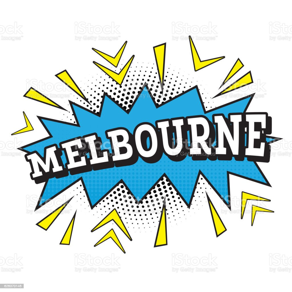 Melbourne. Comic Text in Pop Art Style. vector art illustration