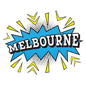 Melbourne. Comic Text in Pop Art Style.