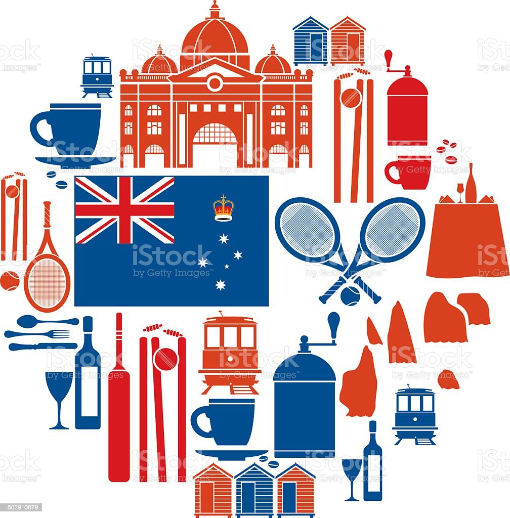Melbourne Icon Set vector art illustration