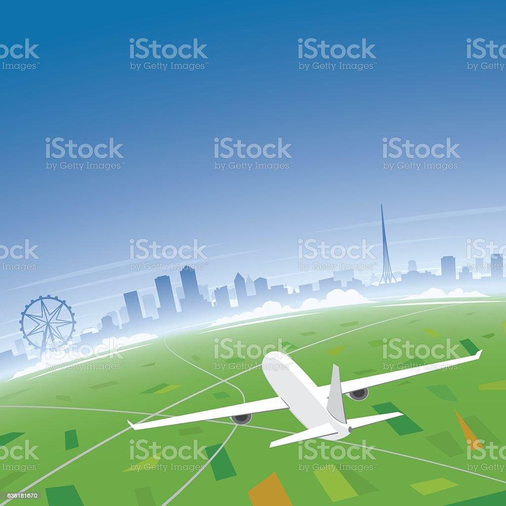 Melbourne Skyline Flight Destination vector art illustration