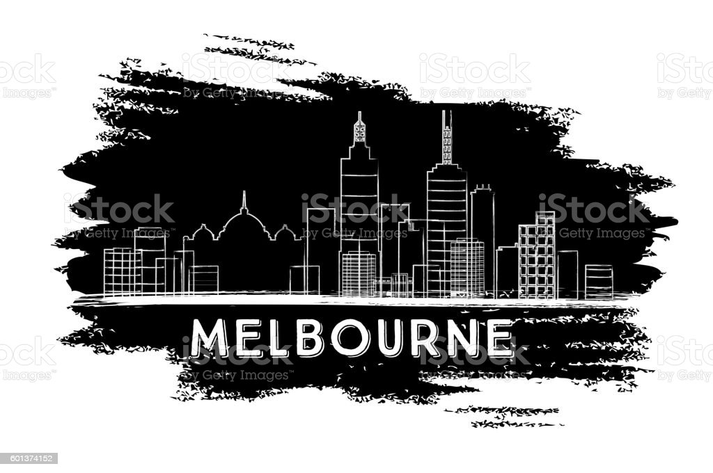 Melbourne Skyline Silhouette. Hand Drawn Sketch. vector art illustration