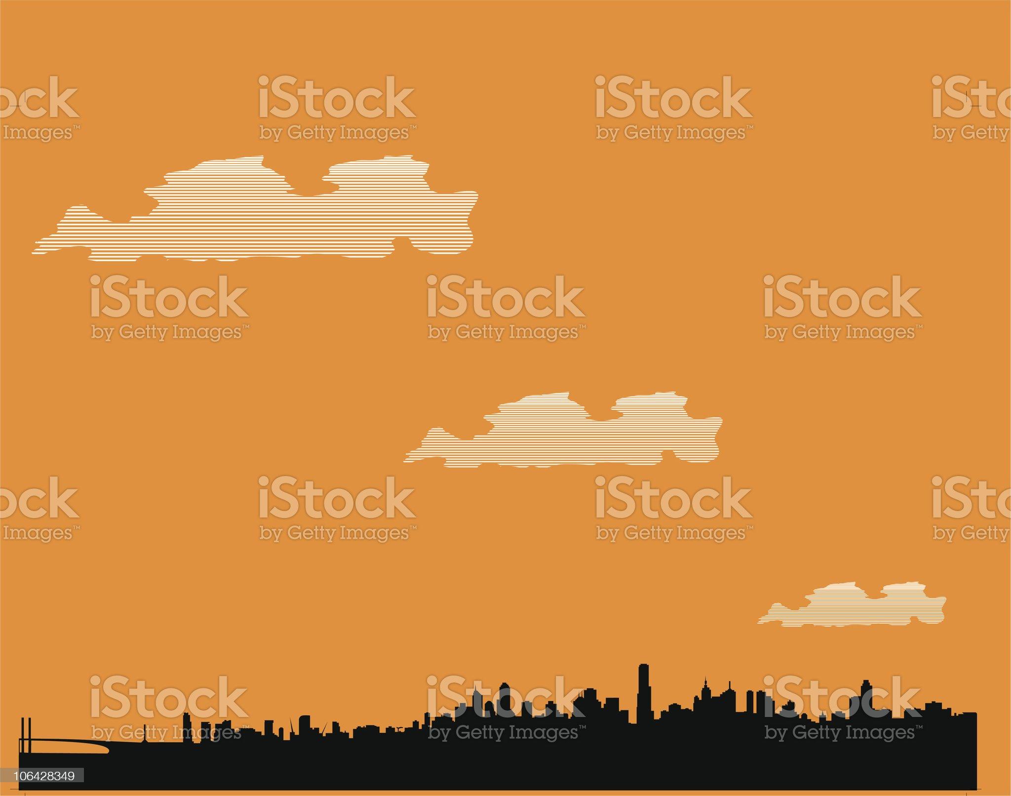 Melbourne skyline royalty-free stock vector art