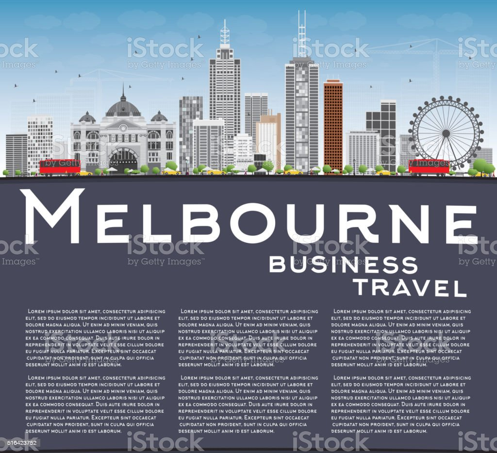 Melbourne Skyline with Gray Buildings and Blue Sky. vector art illustration