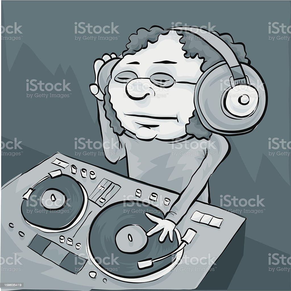Mellow DJ vector art illustration