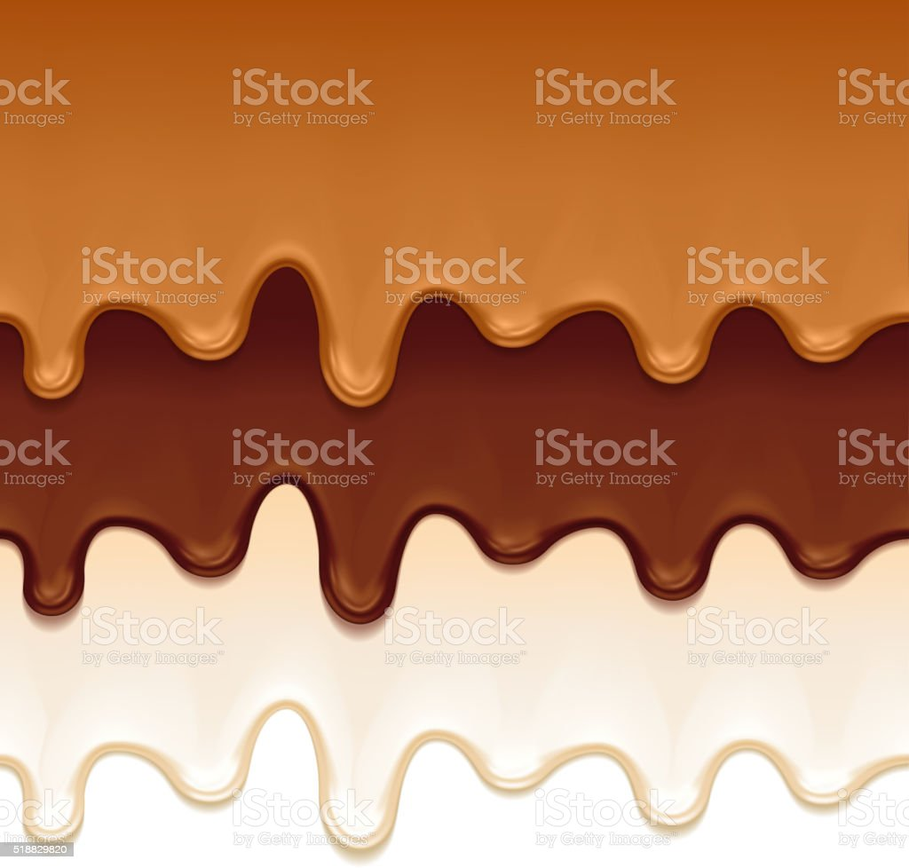Melted chocolate, caramel and yogurt drips vector art illustration