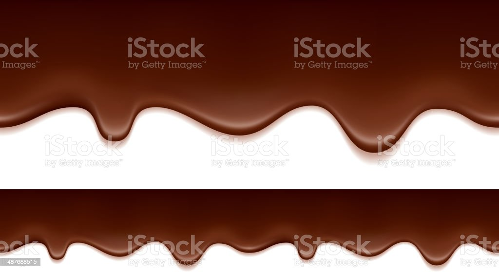 Melted chocolate drips - seamless horizontal border. vector art illustration
