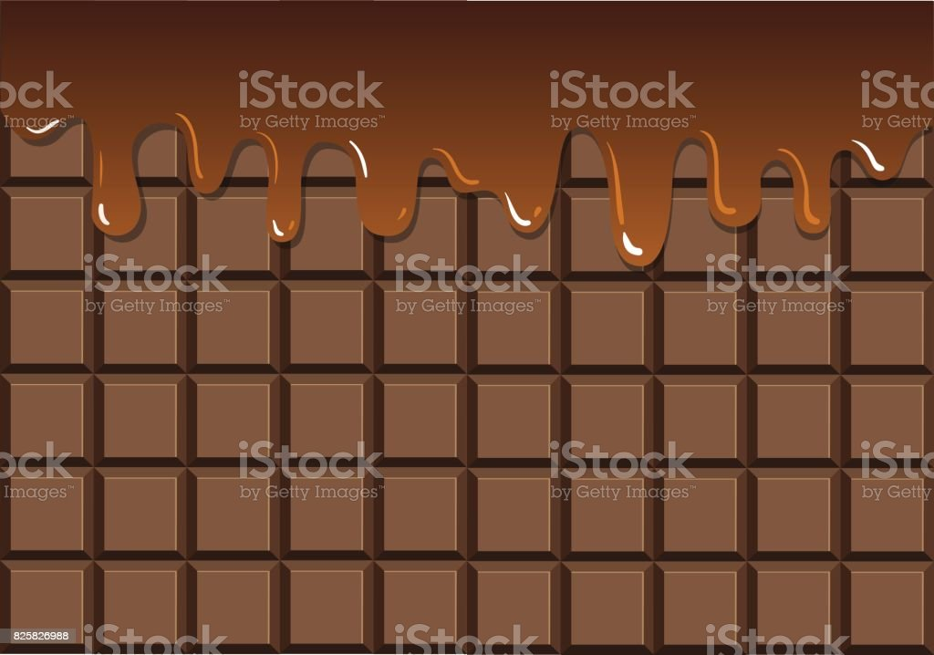 Melted chocolate on chocolate bar vector art illustration