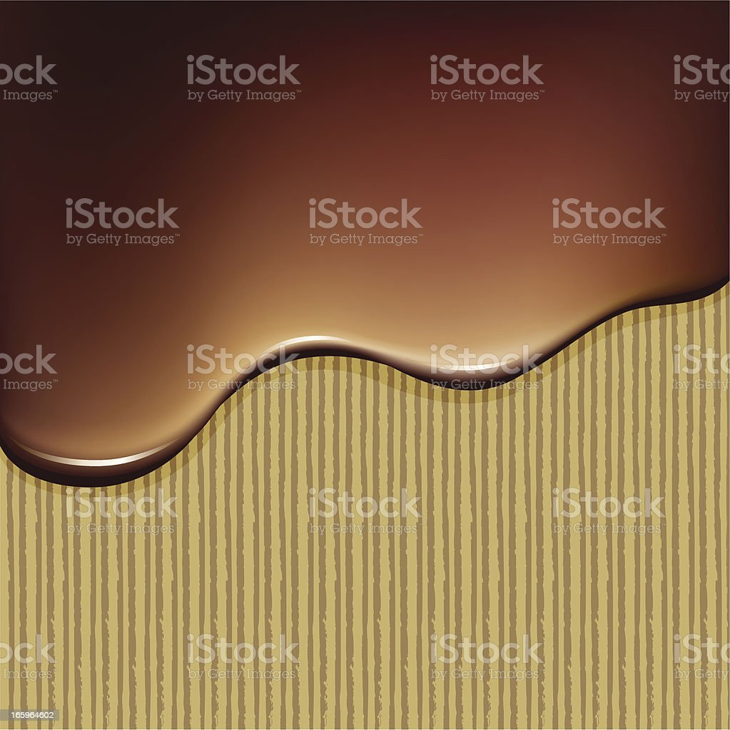 Melted chocolate oozing down a vertical surface vector art illustration