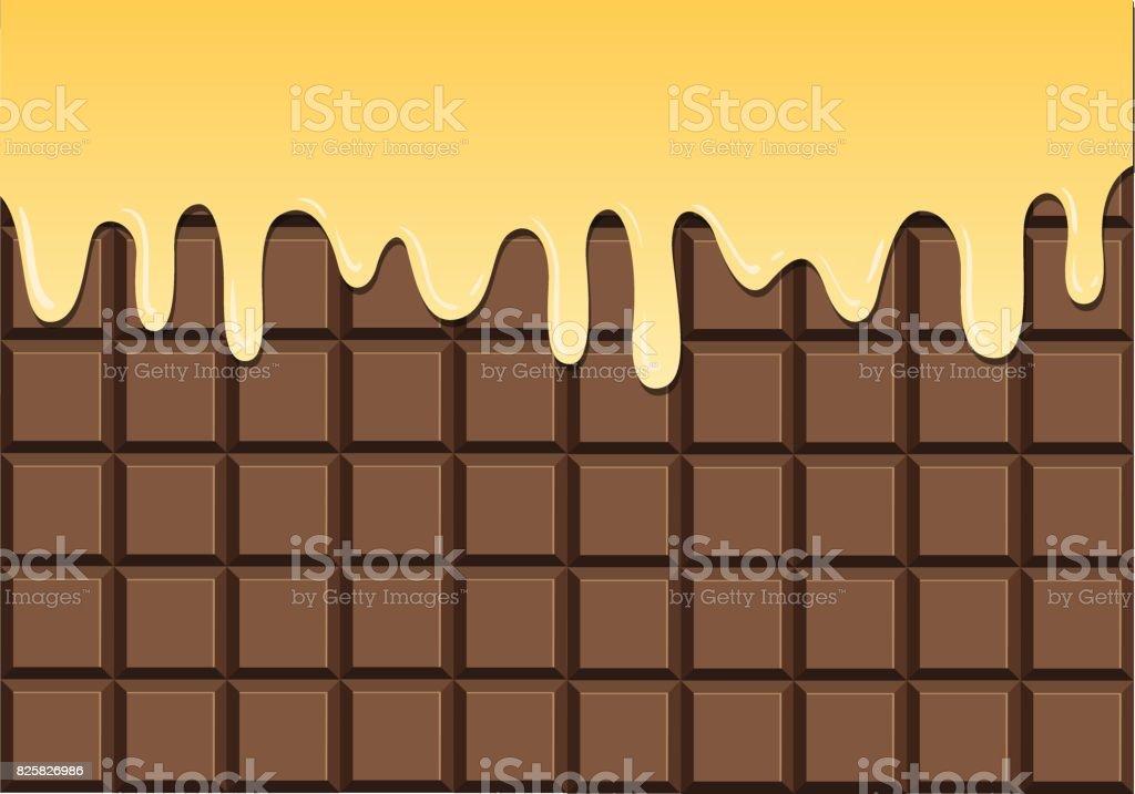 Melted vanilla on chocolate bar vector art illustration
