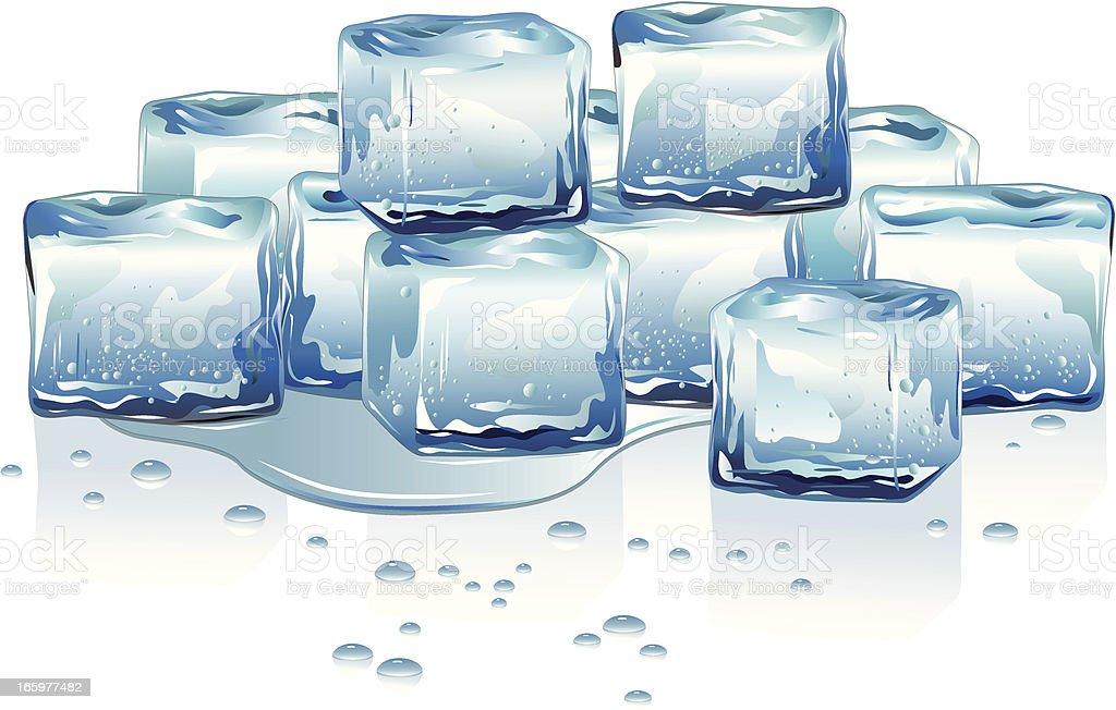 Melting Ice Cubes vector art illustration