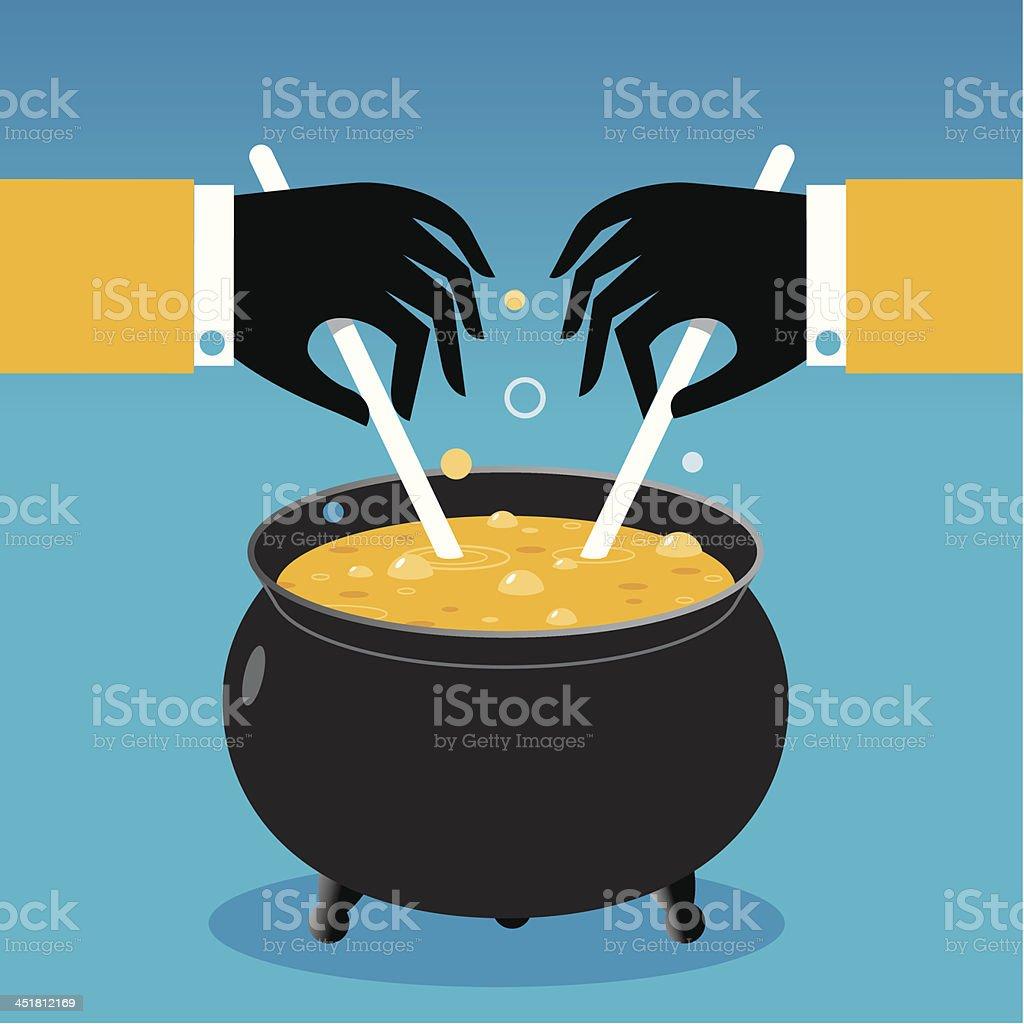 Melting pot vector art illustration