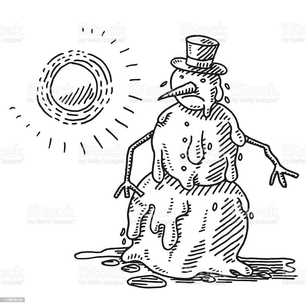 Melting Snowman Heat Of The Sun Drawing vector art illustration