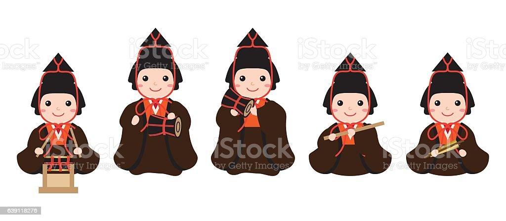 Members of Hina dolls vector art illustration