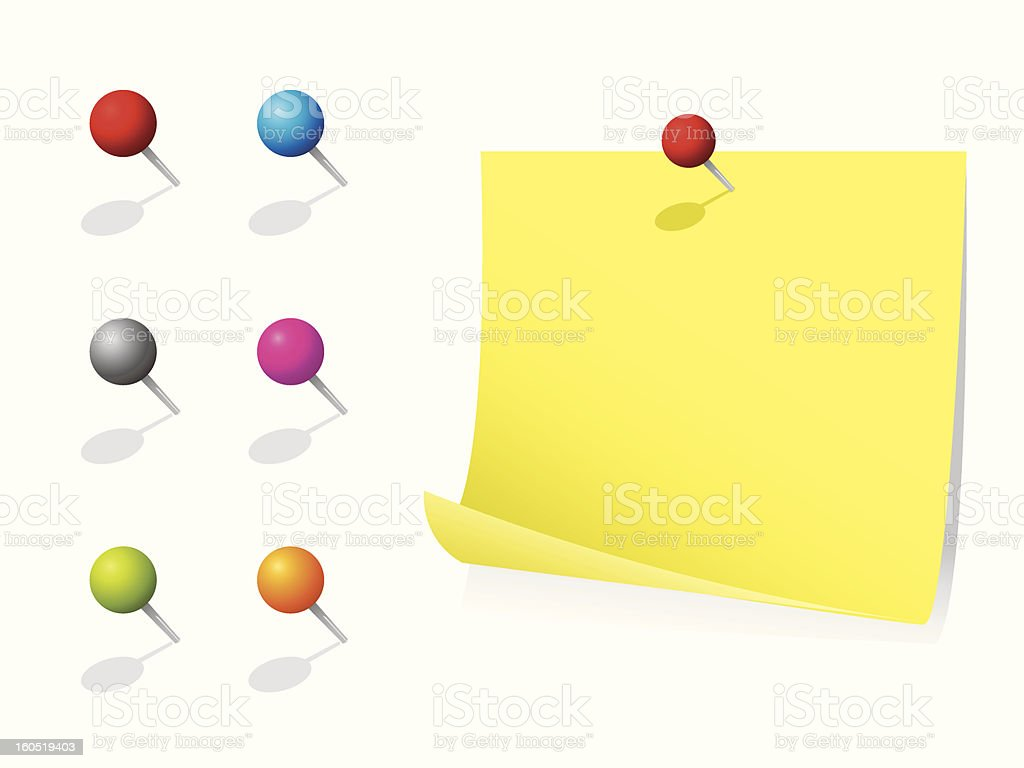 Memo note with push pins royalty-free stock vector art