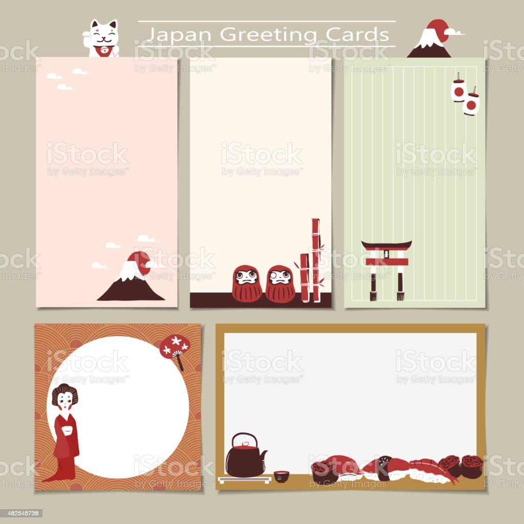 memo set with traditional Japan culture representative things vector art illustration