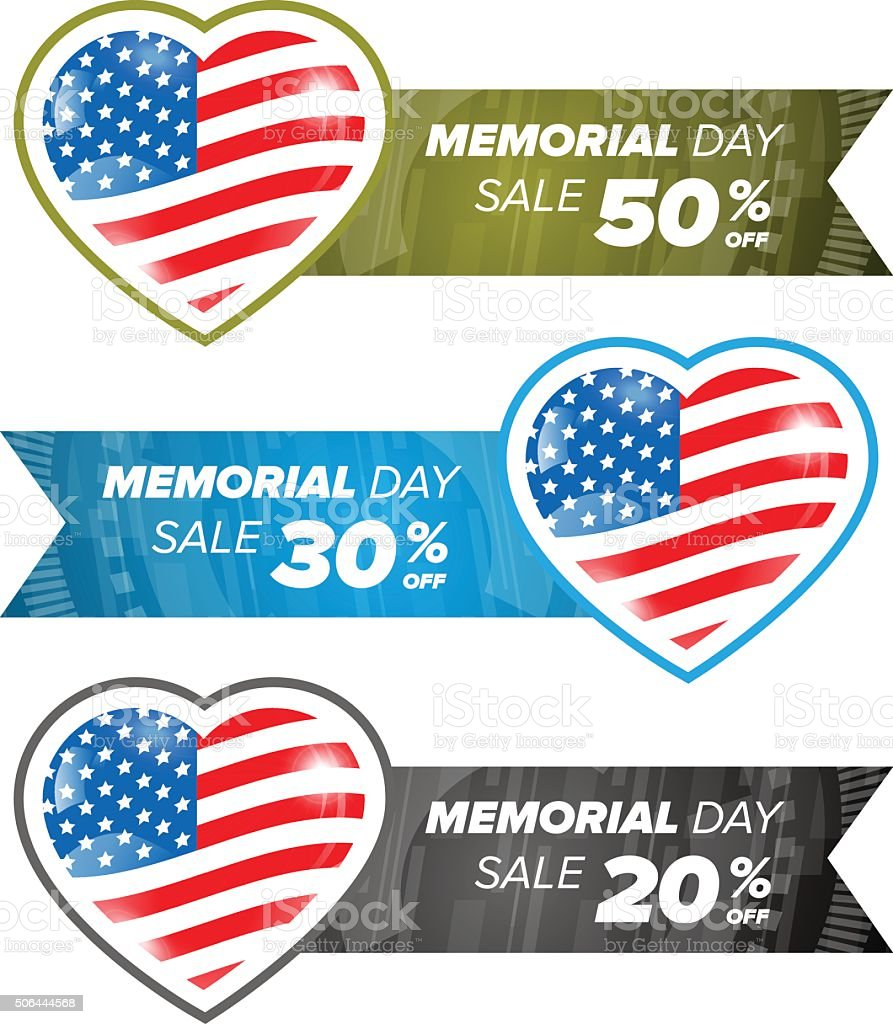 Memorial day banner element vector art illustration