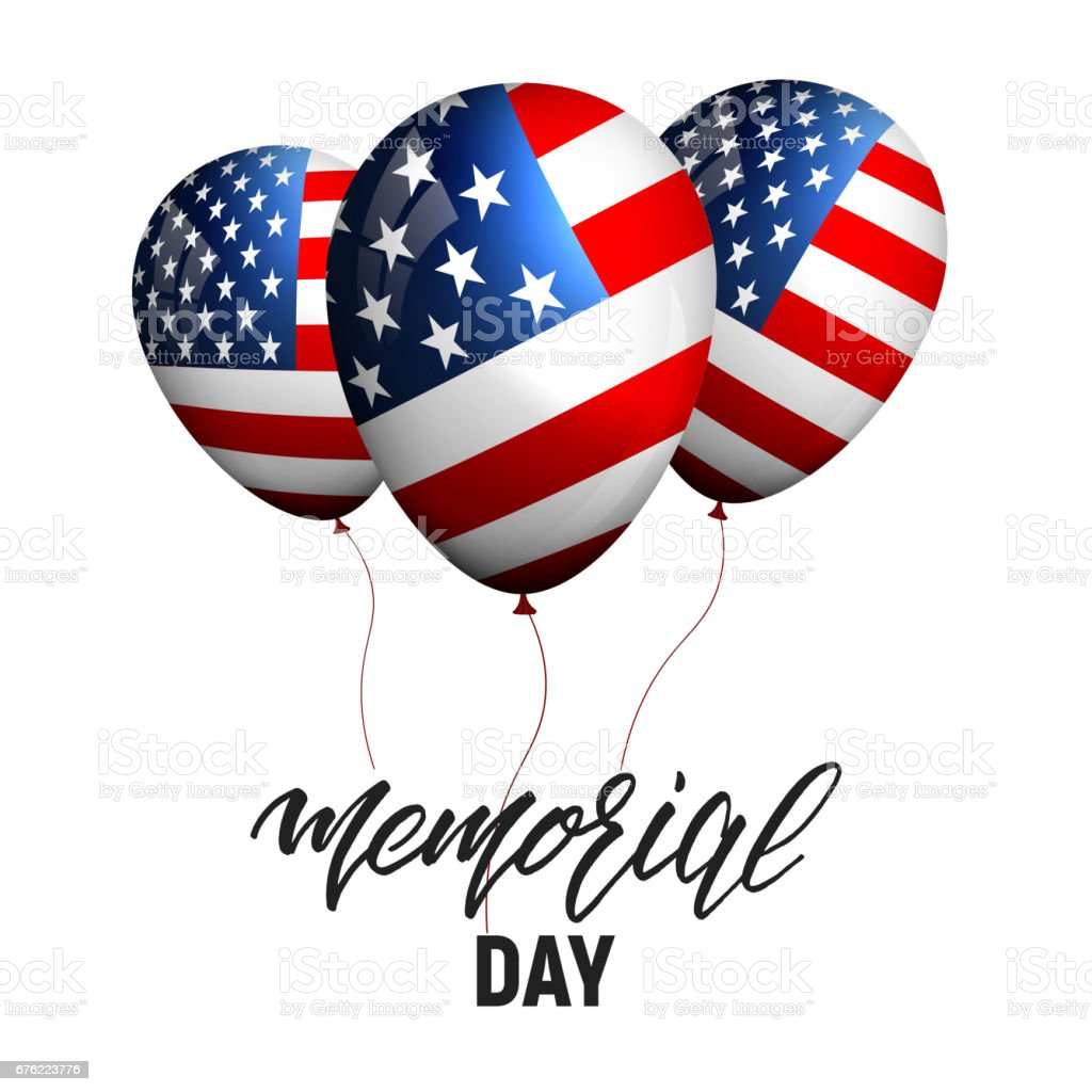 memorial day banner with balloons of usa flag and calligraphy