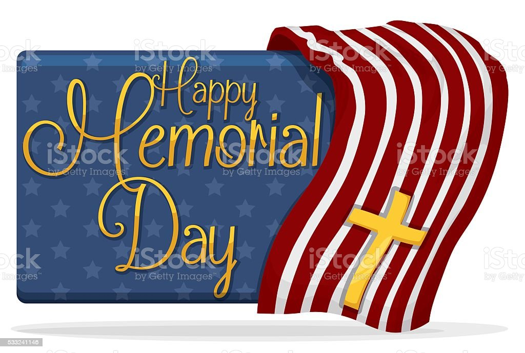 Memorial Day Banner with USA Design and Golden Cross vector art illustration