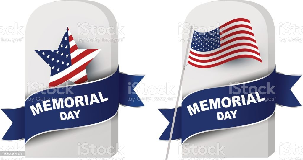 Memorial day concept of gravestone and American flag on white background vector art illustration