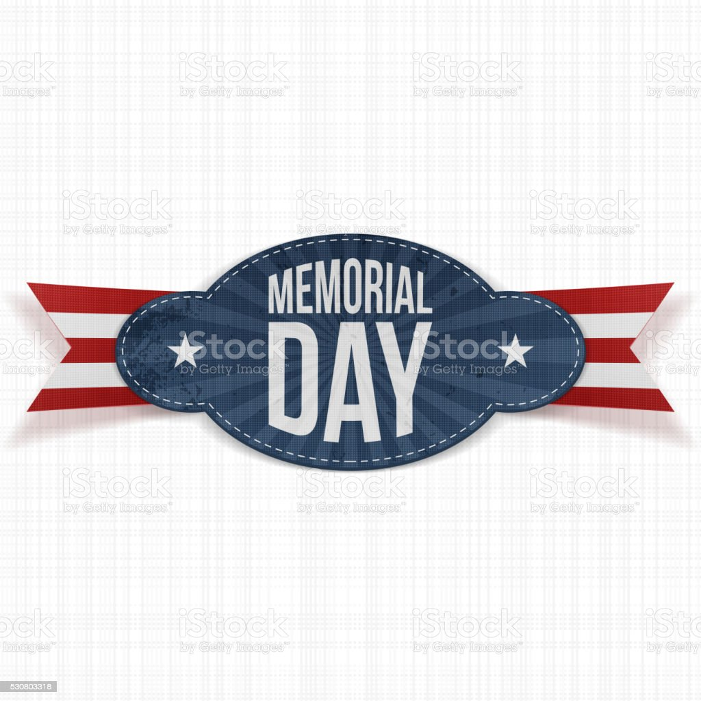 Memorial Day festive Badge with  Ribbon vector art illustration
