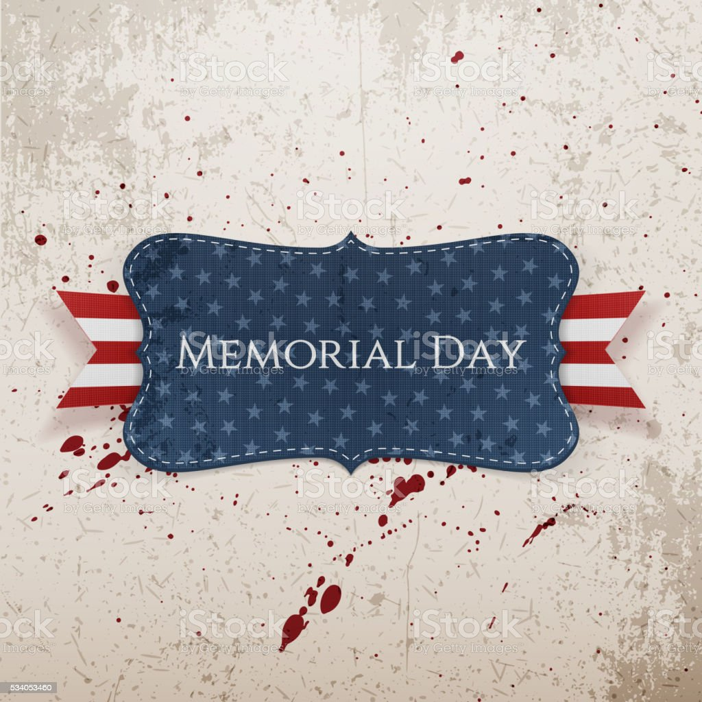 Memorial Day greeting Label and Ribbon vector art illustration