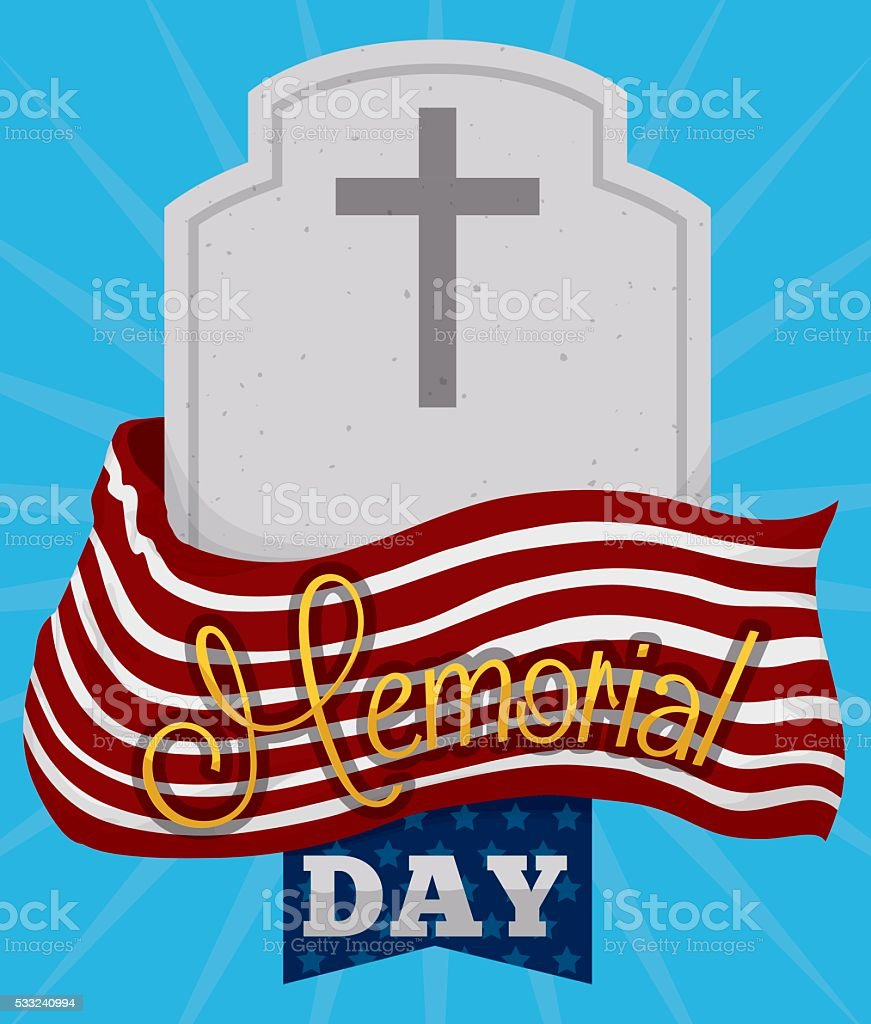 Memorial Day Poster with Tombstone and Flag vector art illustration