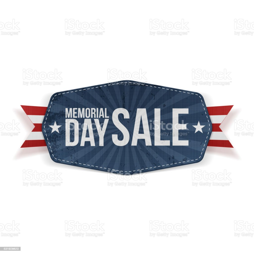 Memorial Day Sale Label with Ribbon and Shadow vector art illustration