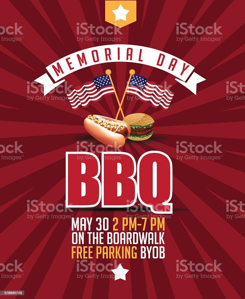 Memorial Day Sale Parade BBQ marketing template. vector art illustration
