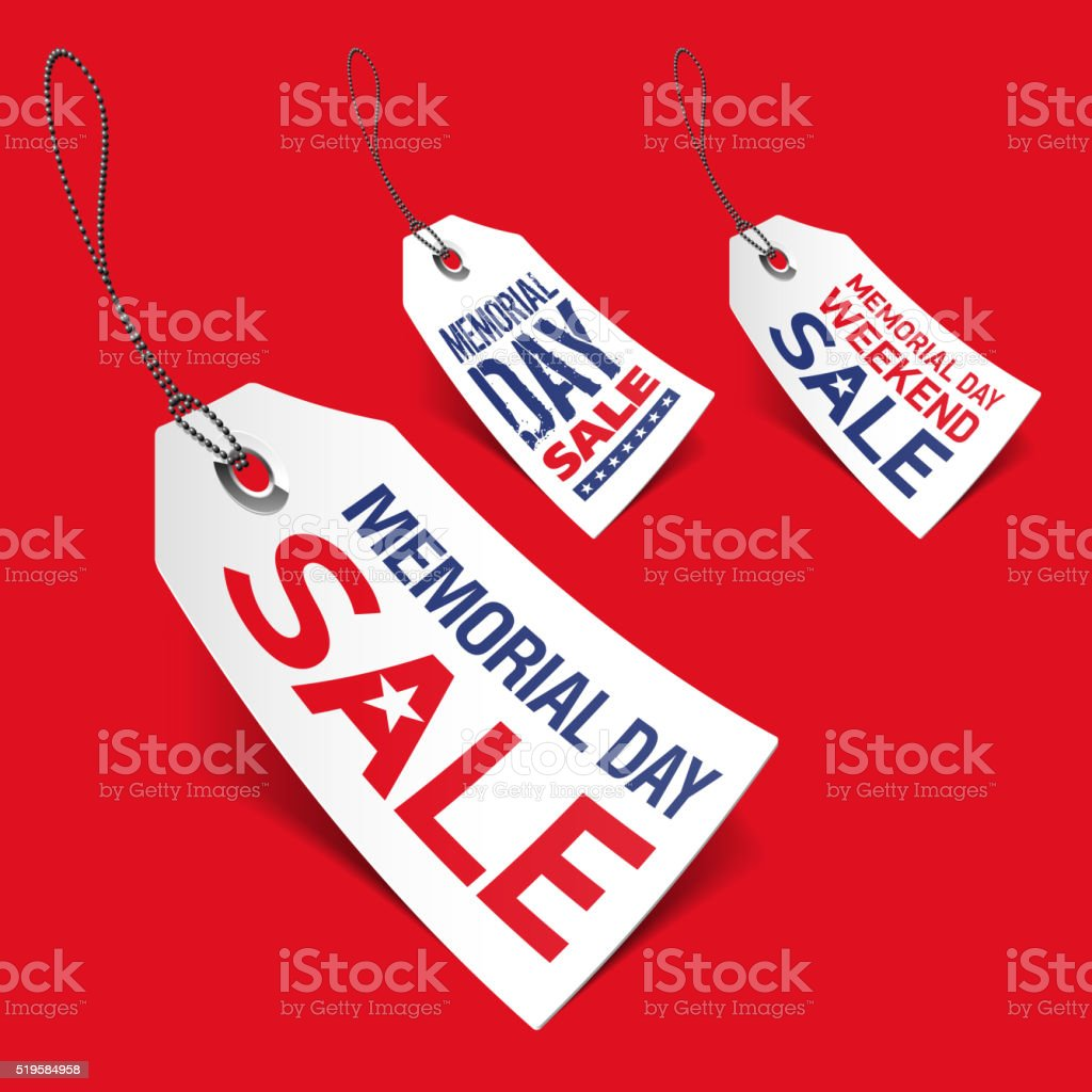 Memorial Day sale tags vector art illustration