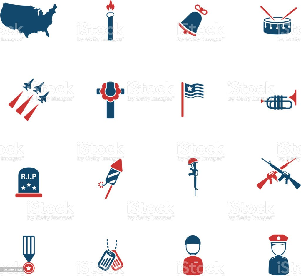 Memorial day simply icons vector art illustration