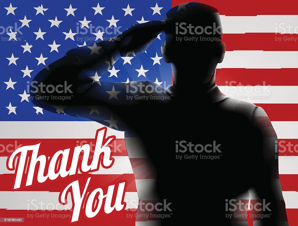 A silhouette soldier saluting with American Flag in the background...