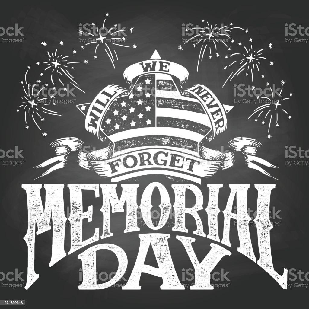 Memorial Day vintage chalkboard illustration vector art illustration