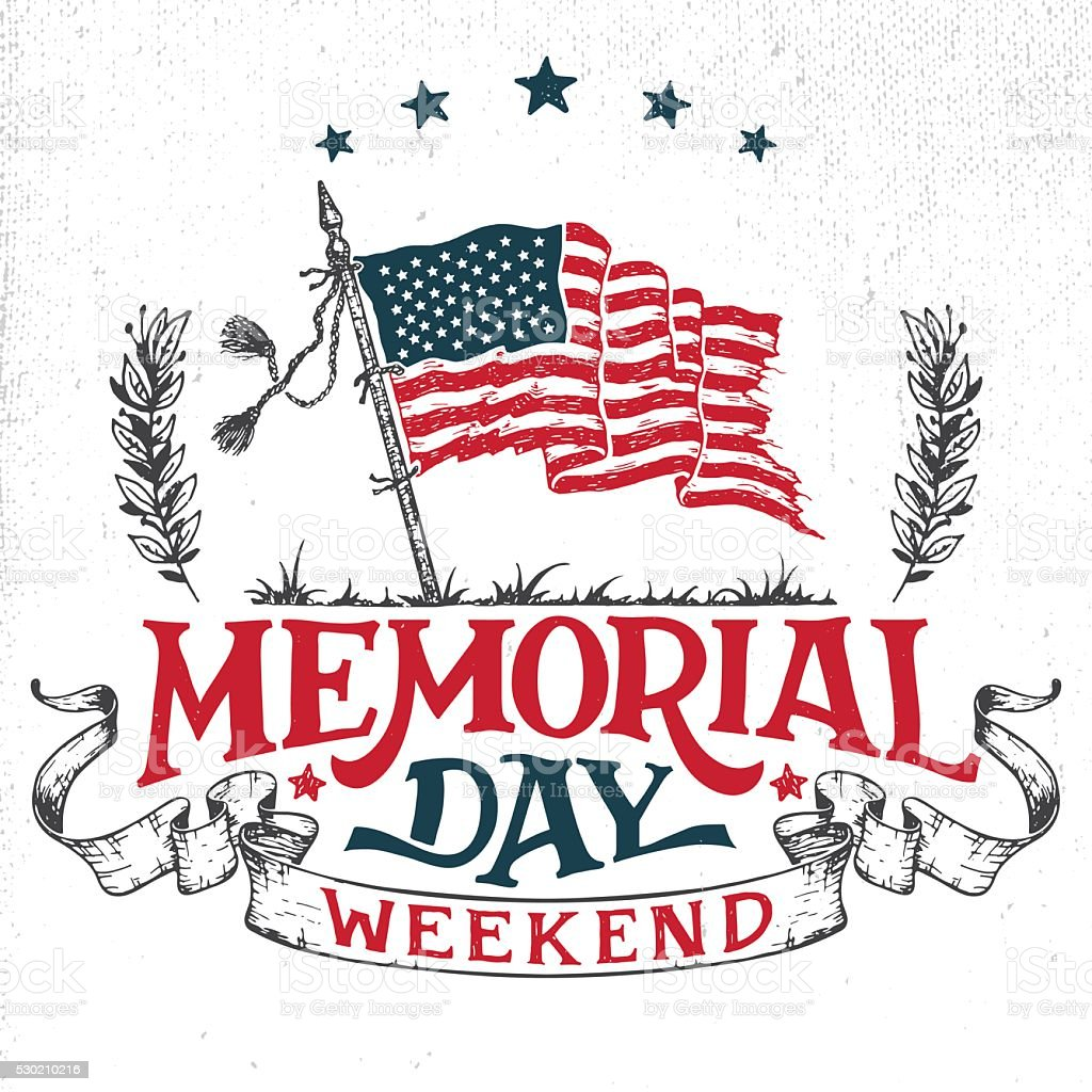 Memorial Day weekend greeting card vector art illustration