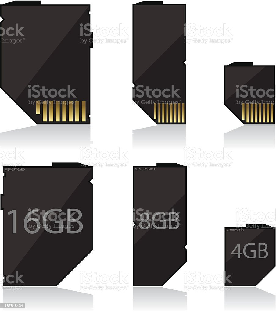Memory card black royalty-free stock vector art