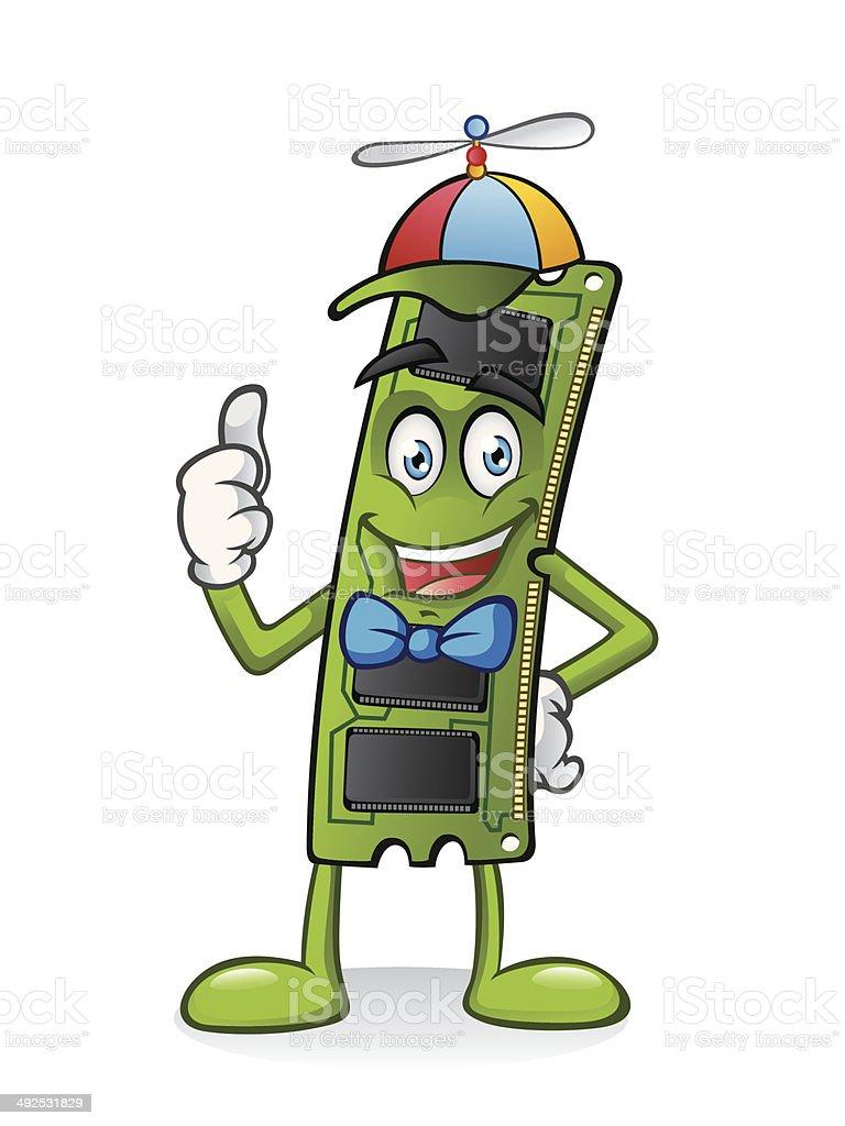 RAM Memory Card Cartoon vector art illustration