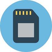 Memory Card Colored Vector Icon