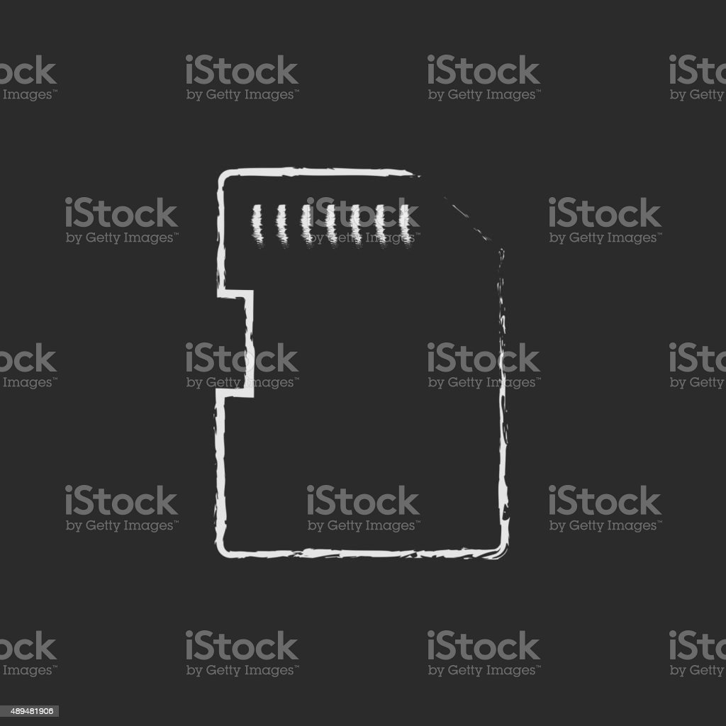 Memory card icon drawn in chalk vector art illustration