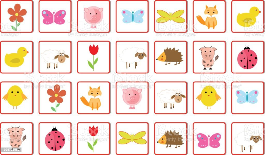 Memory game Animals vector illustration