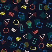 Memphis line shapes seamless patterns. 80-90s. Jumble textures. Zigzag. Triangle.