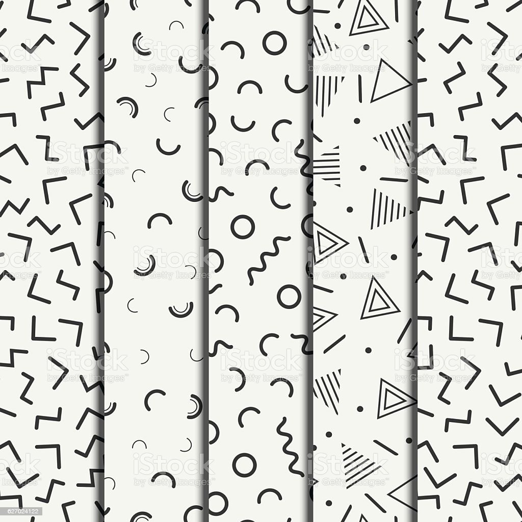 Memphis line shapes seamless patterns set. Fashion 80-90s. Jumble. Zigzag. vector art illustration