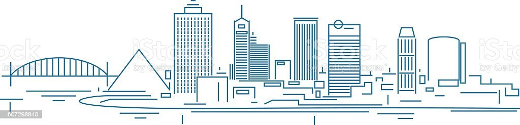 Memphis skyline vector art illustration