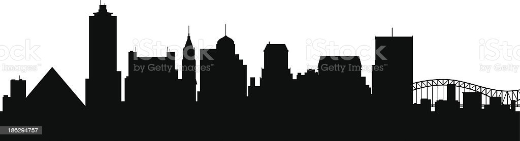 Memphis Tennessee city skyline silhouette vector art illustration