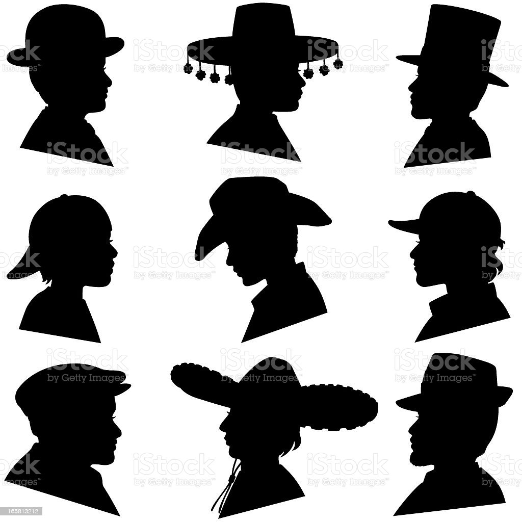 Men and Boys Wearing Hats royalty-free stock vector art