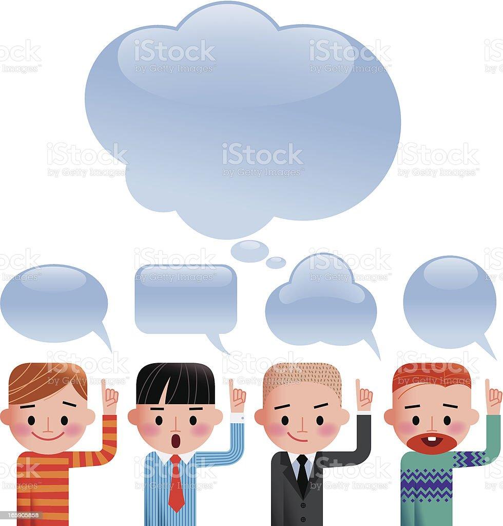 Men and Speech Bubbles. royalty-free stock vector art