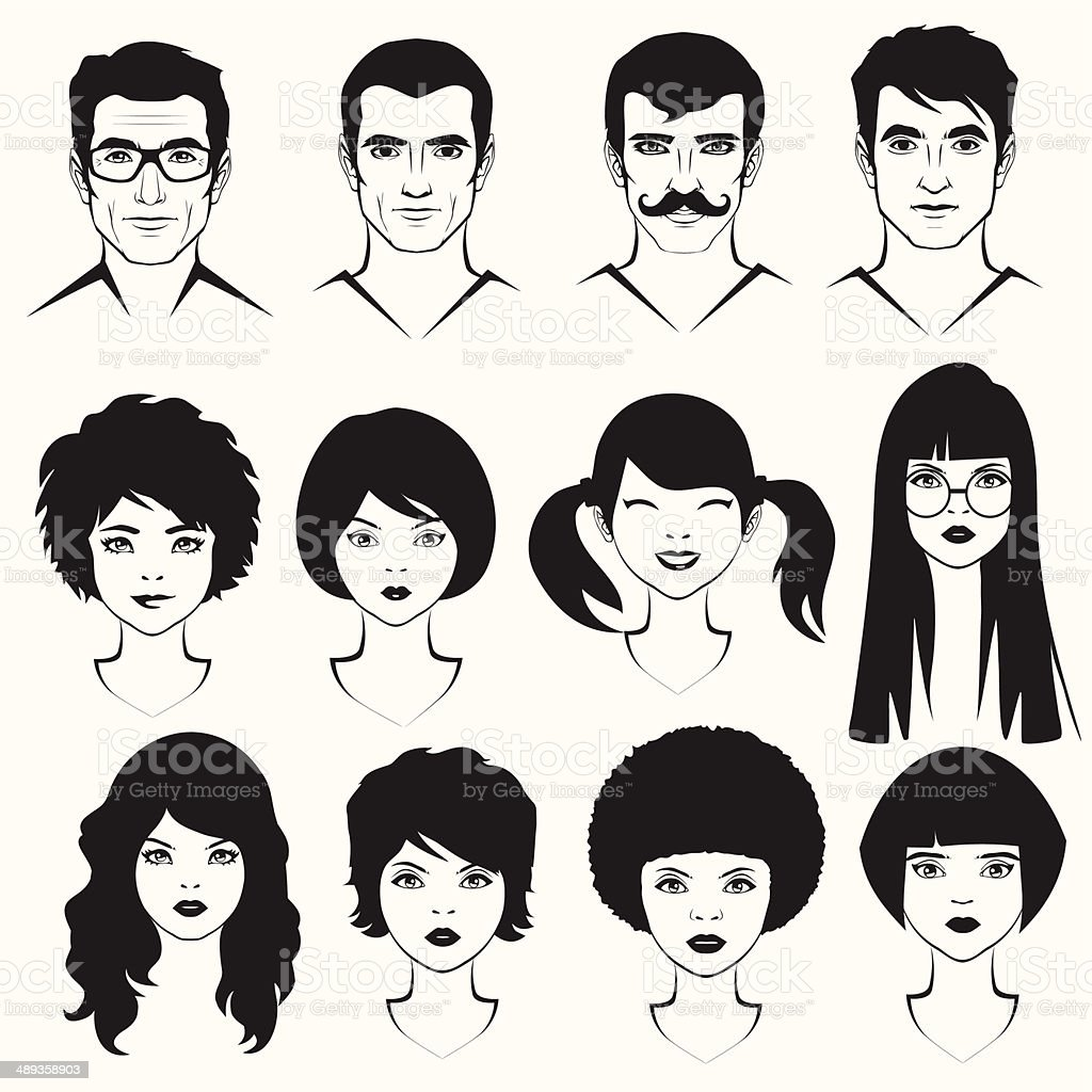men and woman face vector art illustration