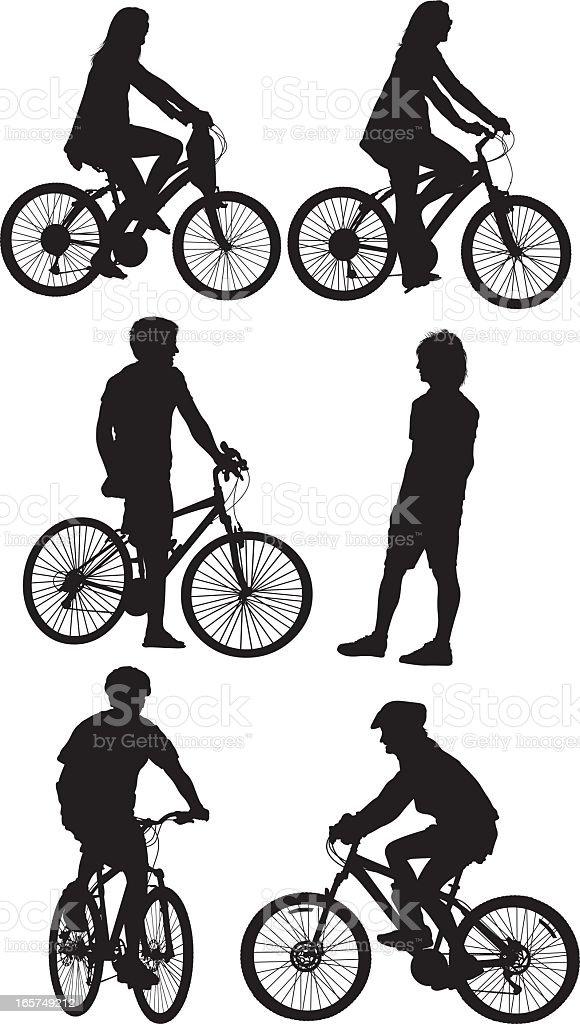 Men and women enjoying a bike ride royalty-free stock vector art